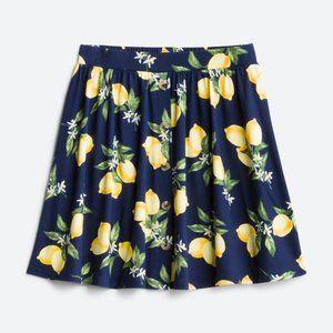 French Grey Knit Skirt with Lemons, Navy, Size L